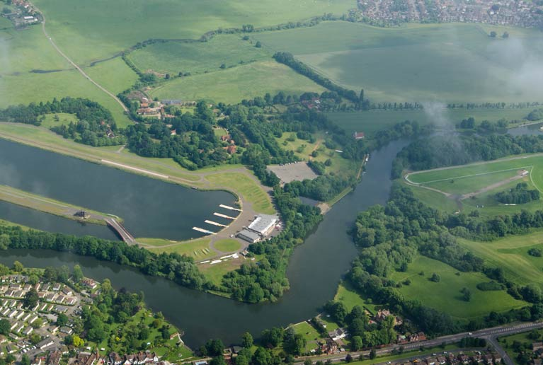 Aerial view of Dorney Lake and Jubilee River near Windsor